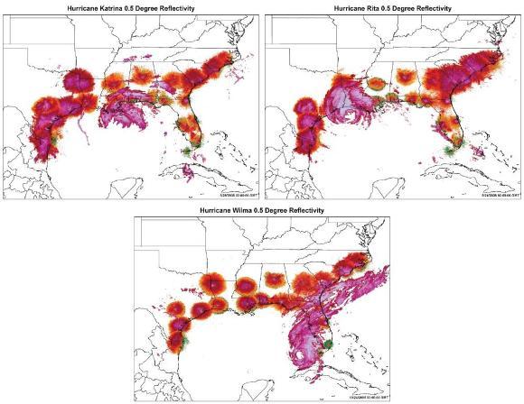 Summarized NEXRAD data from 21 radar stations showing the strength of radar echo