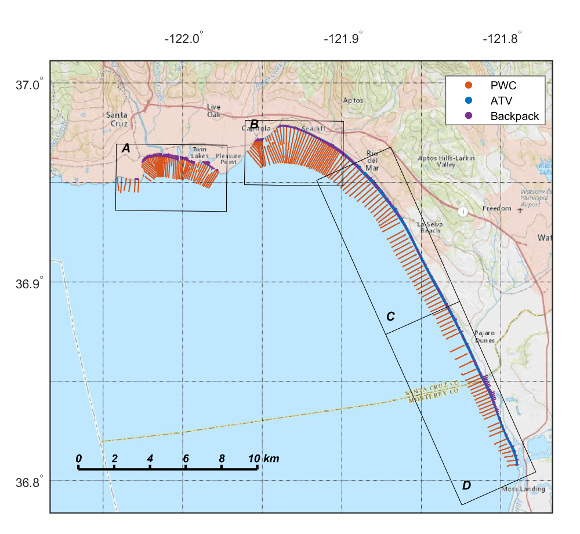 Map showing survey lines for Monterey Bay, October 2014