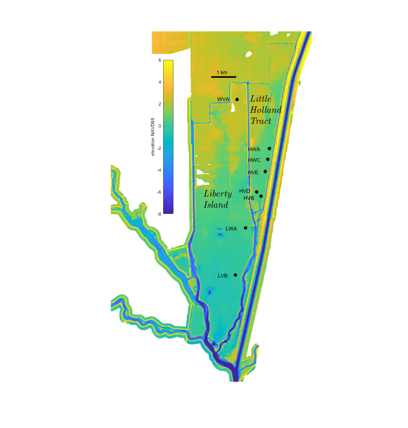 Map of Liberty Island and Little Holland Tract in the Sacramento-San Joaquin Delta showing locations of sampling stations.