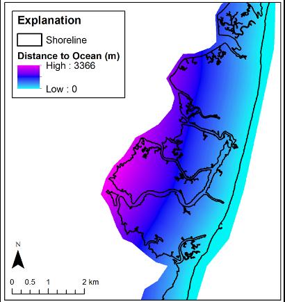 Example of distance to ocean GeoTIFF for Cedar Island, Virginia.