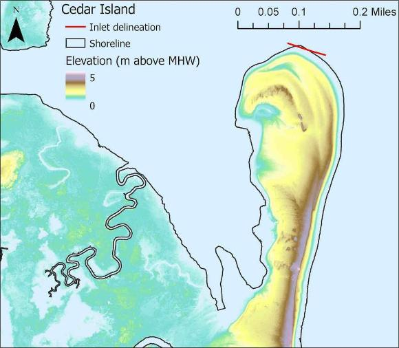 Example shoreline polygon (black) and inlet delineation (red line) overlain o...