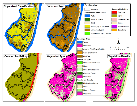 Landcover classification, geomorphic setting, substrate type, vegetation dens...