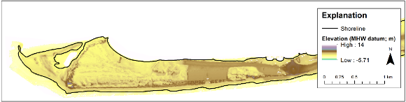 Example of elevation GeoTIFF raster for Fire Island, New York.