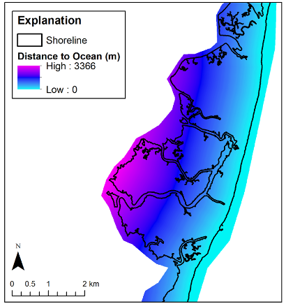 Example of distance to ocean raster. This example is for Cedar Island, VA and...