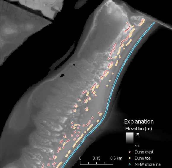 Example geomorphology points (mean high water shoreline, dune toe, and dune c...