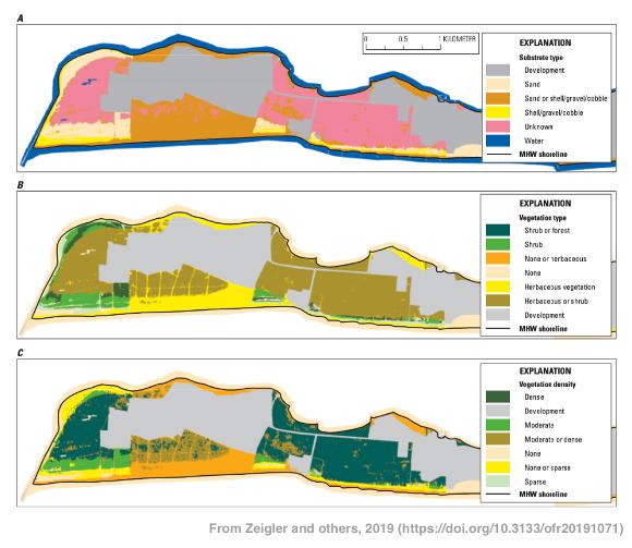 Examples of substrate type, vegetation type, and vegetation density raster la...