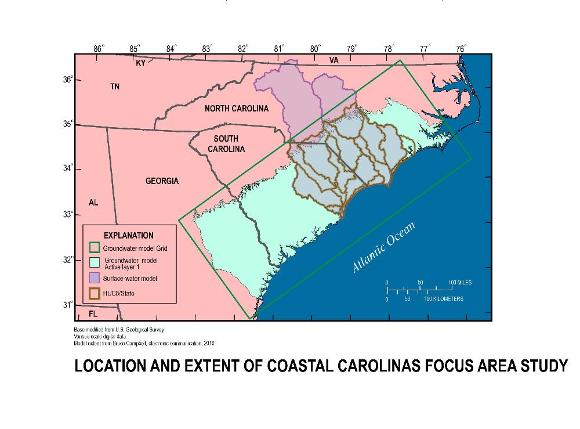 Location and Extent, Coastal Carolinas Focus Area Study