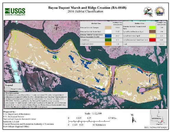 Habitat classification map for Bayou Dupont Marsh